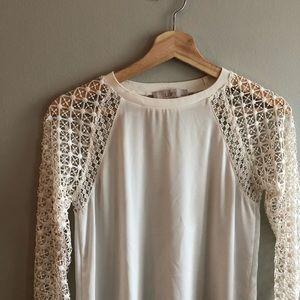 🎀LOFT🎀 Crocheted Sleeve Blouse